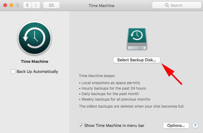 choose drive for backups