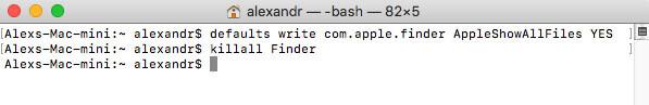 Show hidden files with terminal